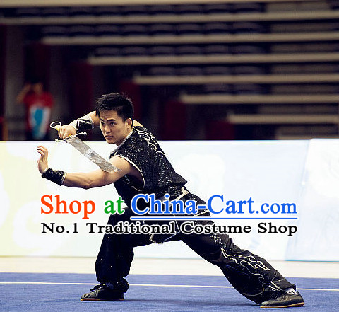 Top Kung Fu Costume Martial Arts Broadswords Combat Costumes Kickboxing Equipment Krav Maga Macho Apparel Karate Clothes Complete Set for Men