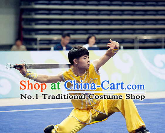 Top Embroidered Kung Fu Costume Martial Arts Broadswords Combat Costumes Kickboxing Equipment Krav Maga Macho Apparel Karate Clothes Complete Set for Men