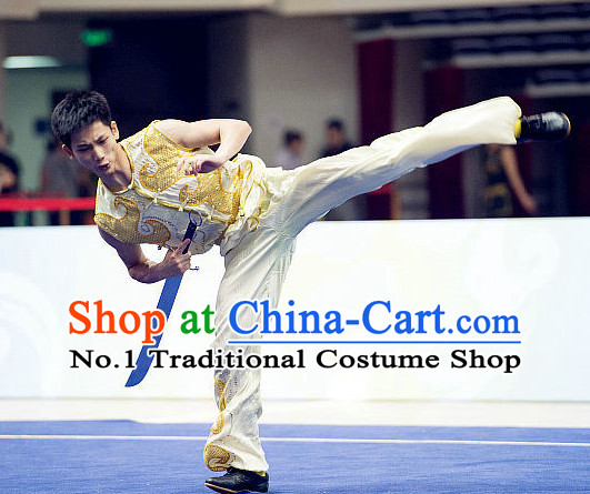 Top Kung Fu Broadsword Costume Martial Arts Broadswords Combat Costumes Kickboxing Equipment Superhero Apparel Karate Clothes Complete Set for Men