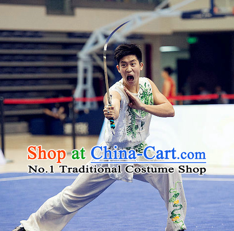 Top White Kung Fu Broadsword Costume Martial Arts Broadswords Combat Costumes Kickboxing Equipment Superhero Apparel Karate Clothes Complete Set for Men