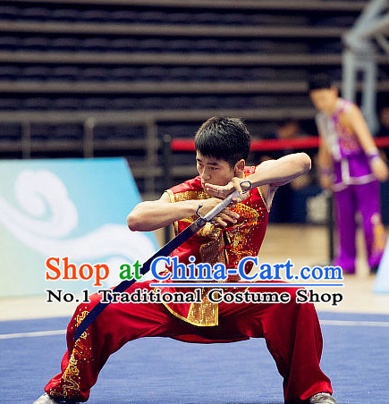 Top RED Kung Fu Broadsword Costume Martial Arts Broadswords Combat Costumes Kickboxing Equipment Superhero Apparel Karate Clothes Complete Set for Men