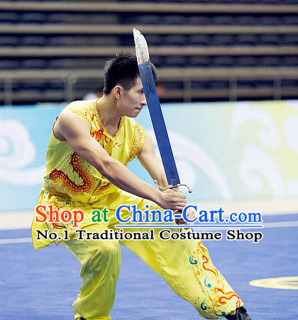 Top Sleeveless Kung Fu Broadsword Costume Martial Arts Broadswords Costumes Kickboxing Equipment Superhero Apparel Karate Combat Clothing Complete Set for Men