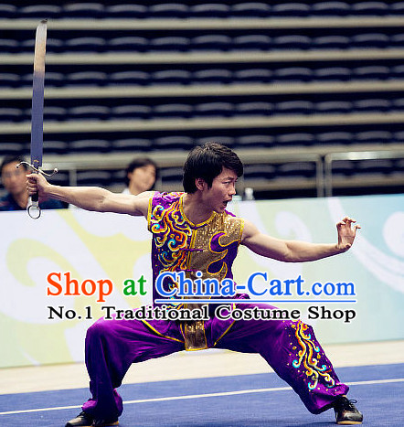 Top Kung Fu Broadsword Costume Martial Arts Broadswords Costumes Kickboxing Equipment Superhero Apparel Karate Combat Clothing Complete Set for Men