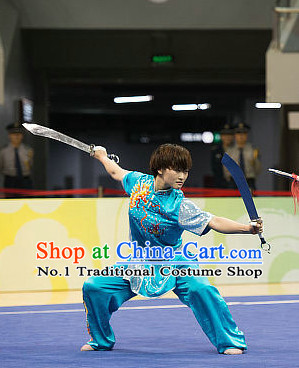 Top Skyblue Kung Fu Broadsword Costume Martial Arts Broadswords Costumes Kickboxing Superhero Apparel Karate Combat Competition Clothing for Women