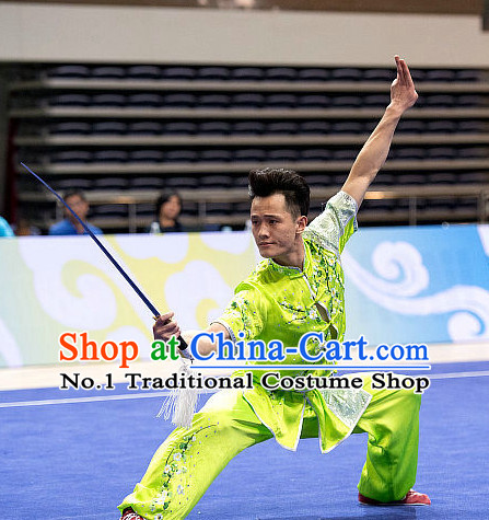 Top Embroidered Martial Arts Uniform Supplies Kung Fu Southern Swords Broadswords Championship Competition Uniforms for Men