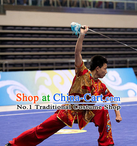 Top Red Embroidered Martial Arts Uniform Supplies Kung Fu Southern Swords Broadswords Championship Competition Uniforms for Men