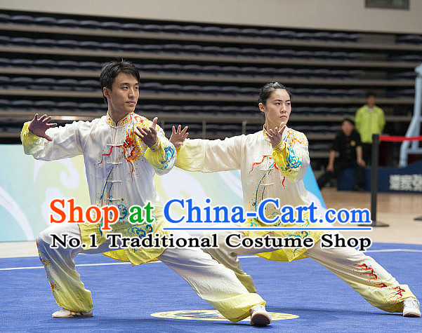 Top Dragon Embroidery Tai Chi Costumes Taijiquan Costume Aikido Chikung Tichi Uniforms Quigong Uniform Thaichi Martial Art Qi Gong Combat Clothing Competition Uniforms for Men or Women