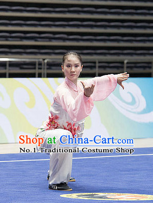 Top Giant Flower Embroidery Tai Chi Costumes Taijiquan Costume Aikido Chikung Tichi Uniforms Quigong Uniform Thaichi Martial Art Qi Gong Combat Clothing Competition Uniforms for Women