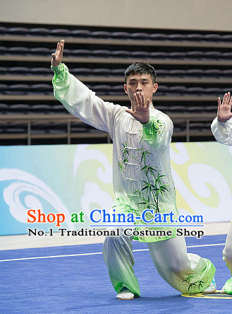 Top Bamboo Embroidery Tai Chi Costumes Taijiquan Costume Aikido Chikung Tichi Uniforms Quigong Uniform Thaichi Martial Art Qi Gong Combat Clothing Competition Uniforms for Men