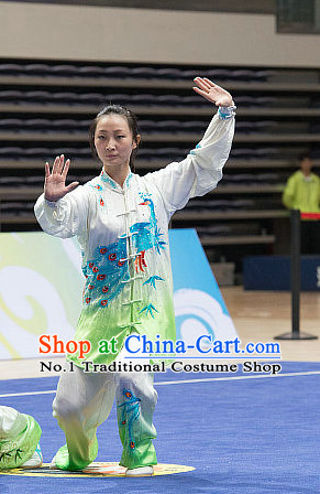 Top Peacock Embroidery Tai Chi Costumes Taijiquan Costume Aikido Chikung Tichi Uniforms Quigong Uniform Thaichi Martial Art Qi Gong Combat Clothing Competition Uniforms for Men