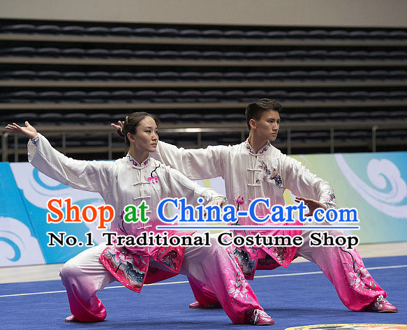 Top Lotus Embroidery Tai Chi Costumes Taijiquan Costume Aikido Chikung Tichi Uniforms Quigong Uniform Thaichi Martial Art Qi Gong Combat Clothing Competition Uniforms for Men or Women