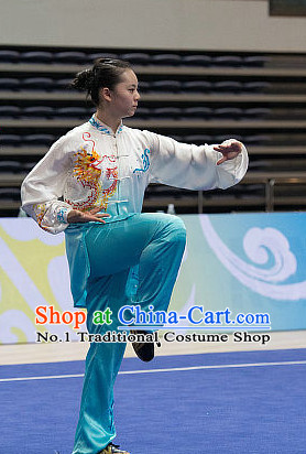 Top Dragon Embroidery Tai Chi Costumes Taijiquan Costume Aikido Chikung Tichi Uniforms Quigong Uniform Thaichi Martial Arts Qi Gong Combat Clothing Competition Suits for Women