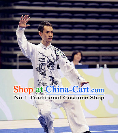 Top Tai Chi Championship Dragon Costumes Taijiquan Uniforms Martial Arts Qi Gong Kung Fu Combat Clothing Competition Uniform for Men