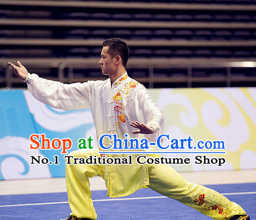 Top Embroidered Tai Chi Swords Championship Costumes Taijiquan Uniforms Quigong Uniform Thaichi Martial Arts Qi Gong Combat Clothing Competition Clothes