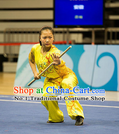 Top Shinning Kung Fu Stick Competition Uniforms Kungfu Training Suit Kung Fu Clothing Kung Fu Movies Costumes Wing Chun Costume Shaolin Martial Arts Clothes for Women