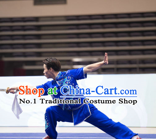 Top Dragon Embroidery Kung Fu Broadsword Uniforms Martial Arts Training Uniform Gongfu Clothing Wing Chun Costume Shaolin Clothes Karate Suit for Men