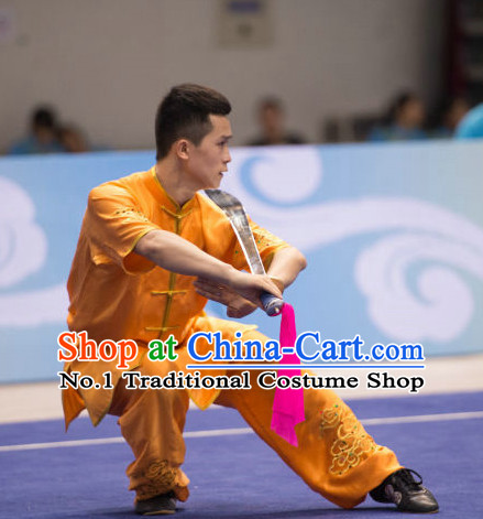 Top Embroidered Kung Fu Broadsword Uniforms Martial Arts Training Uniform Gongfu Clothing Wing Chun Costume Shaolin Clothes Karate Suit for Men