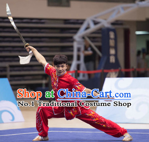 Top Embroidered Dragon Kung Fu Broadsword Uniforms Martial Arts Training Uniform Gongfu Clothing Wing Chun Costume Shaolin Clothes Karate Suit for Men