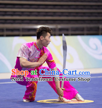 Top Shiny Kung Fu Broadsword Uniforms Martial Arts Training Uniform Gongfu Clothing Wing Chun Costume Shaolin Clothes Karate Suit for Men