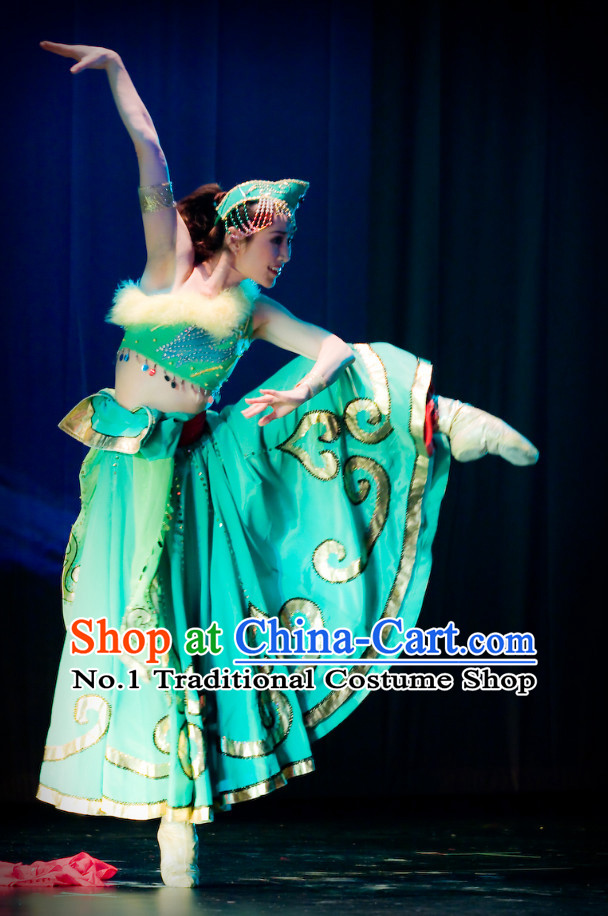 Professional Chinese Stage Performance Ethnic Dancing Costumes and Headwear Complete Set