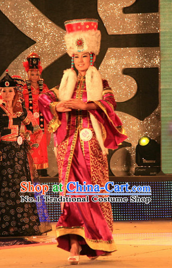 Chinese Ethnic Mongolian Empress Costumes and Hat Complete Set for Women
