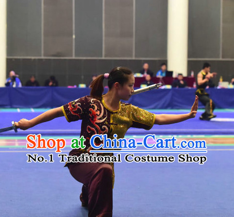 Top Chinese Wushu Double Forks Kung Fu Sword Uniforms Kungfu Uniform Martial Arts Competition Costumes for Women