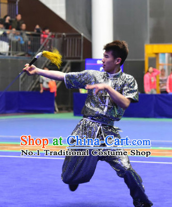 Top Shinning Chinese Wushu Kung Fu Sword Uniforms Kungfu Uniform Martial Arts Competition Costumes for Men