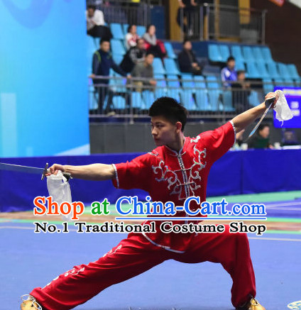 Top Chinese Kungfu Double Forks Kung Fu Costume Kung Fu Combat Costumes Wing Chun Karate Uniform Kung Fu Competition Suit Martial Arts Costumes for Men