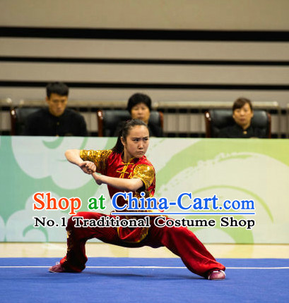 Top Red Chinese Martial Arts Competition Uniform Kung Fu Suit Eagle Fist Mantis Boxing Monkey Fist Gongfu Costumes Complete Set for Women