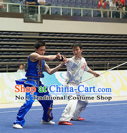 Top Blue China Southern Fist Kung Fu Uniform Martial Arts Uniforms Kungfu Suits Competition Costumes Complete Set