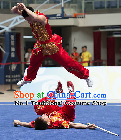 Top Red China Southern Fist Kung Fu Uniform Martial Arts Uniforms Kungfu Suits Competition Costumes Complete Set