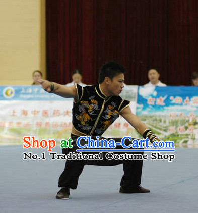 Top Black Chinese Southern Fist Kung Fu Uniform Martial Arts Uniforms Kungfu Suits Competition Costumes Complete Set