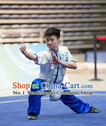 Top White Embroidered Chinese Southern Fist Kung Fu Uniform Martial Arts Uniforms Kungfu Suits Competition Costumes Complete Set