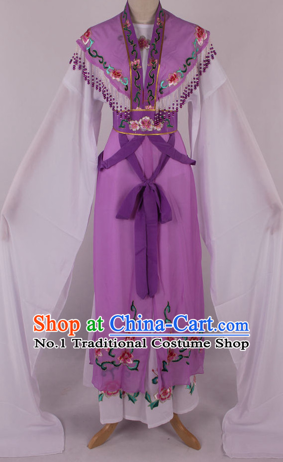Chinese Beijing Opera Peking Opera Hua Tan Long Water Sleeve Dance Costumes Complete Set for Kids