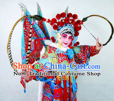 Chinese Traditional Hua Tan Phoenix Crown and Long Feathers