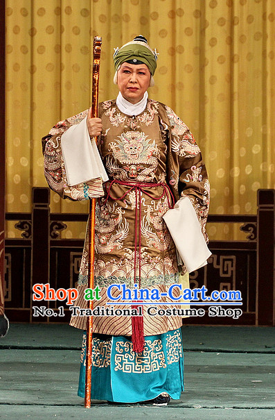 Chinese Peking Opera Beijing Opera Pantaloon Costumes and Headwear Complete Set for Women