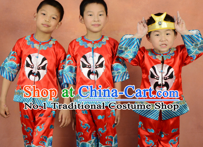 Chinese Beijing Opera Mask Embroidered Dragon Dance Costumes for Kids