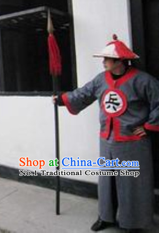 Chinese Ancient Solider Costumes and Hat Complete Set for Men