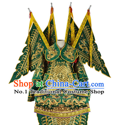 Chinese Green Theatrical Costume Beijing Opera Costumes Peking Opera Wu Sheng Embroidered Armor Costumes and Flags for Men