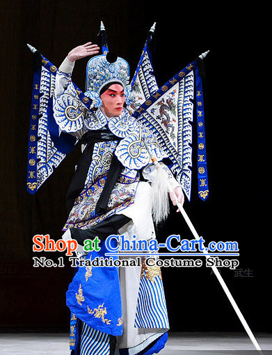 Chinese Theatrical Costume Beijing Opera Costumes Peking Opera Wu Sheng Warrior Costumes Flags and Hat Complete Set for Men