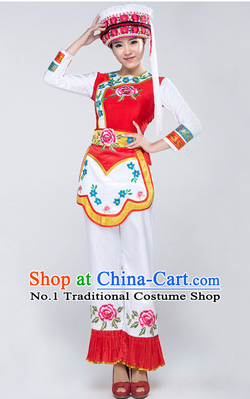 Asian China Bai Ethnic Clothes and Hat Complete Set for Women