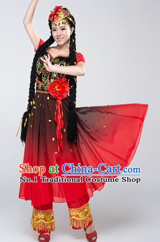 Asian China Xinjiang Clothes and Hat Complete Set for Women