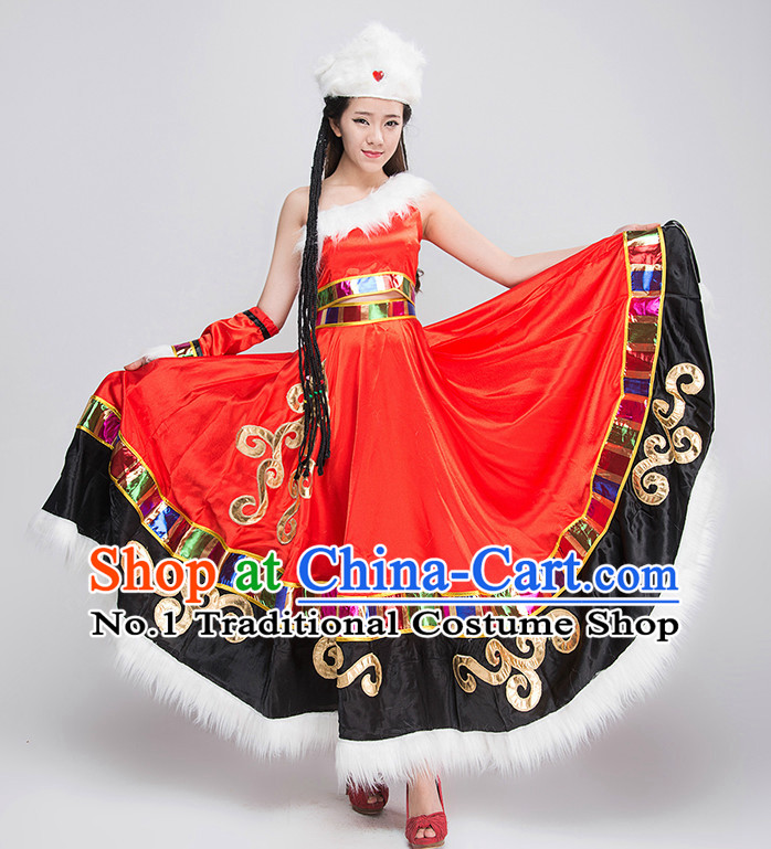 Traditional Chinese Mongolian Clothing Complete Set for Women