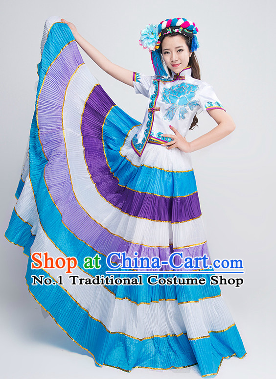 Traditional Chinese Yi Ethnic Dance Costumes for Competition