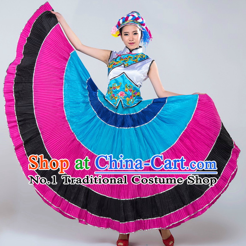 Chinese Ethnic Girls Dancewear Dance Costumes for Competition