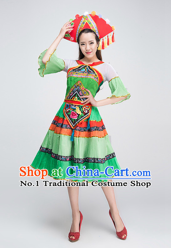 Professional Zhuang Minority Costumes Tinkerbell Costume Salsa Costumes Flapper Costume Burlesque Girls Dancewear Dance Costumes for Competition