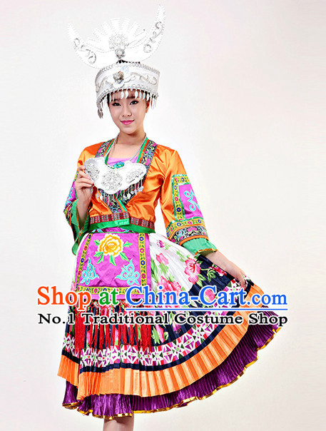 Chinese Miao Ethnic Minority Competition Dance Costumes and Hat Complete Set for Women