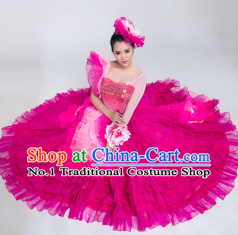 Chinese Lyrical Competition Dance Costumes for Women