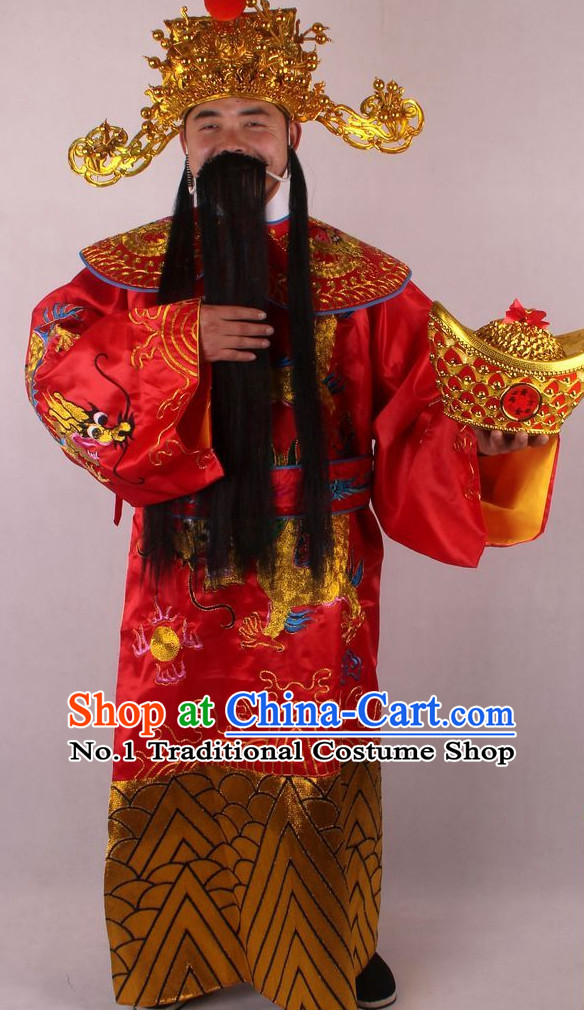 Chinese Culture Chinese Opera Costumes Chinese Cantonese Opera Beijing Opera Costumes Cai Shen Costumes and Hat Complete Set for Men