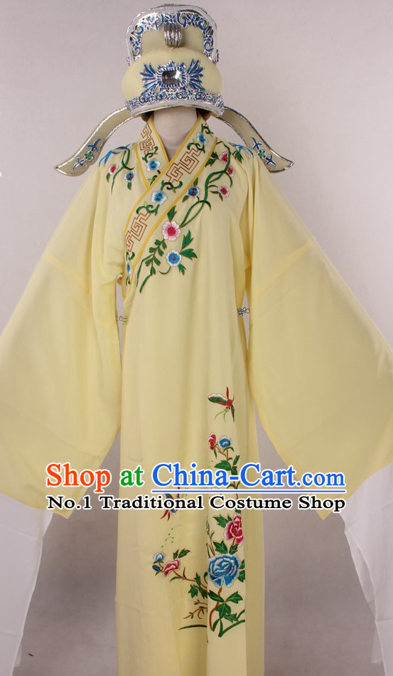 Chinese Culture Chinese Opera Costumes Chinese Cantonese Opera Beijing Opera Costumes Xiao Sheng Costume and Hat Complete Set for Men